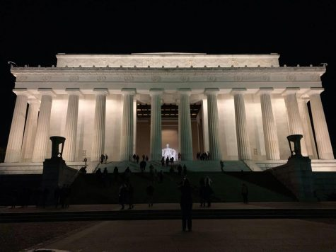 The Lincoln Memorial stands guard over Washington D.C. every night. Many remember President Lincoln for the abolition of slavery.