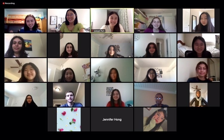Student tutors meet over Zoom once a month to discuss progress with helping younger students.