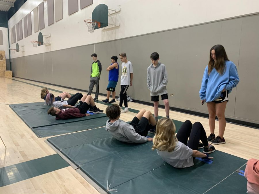 0-period Rio Americano High School students participating in a practice CA fitness test. The actual test will be conducted in May.