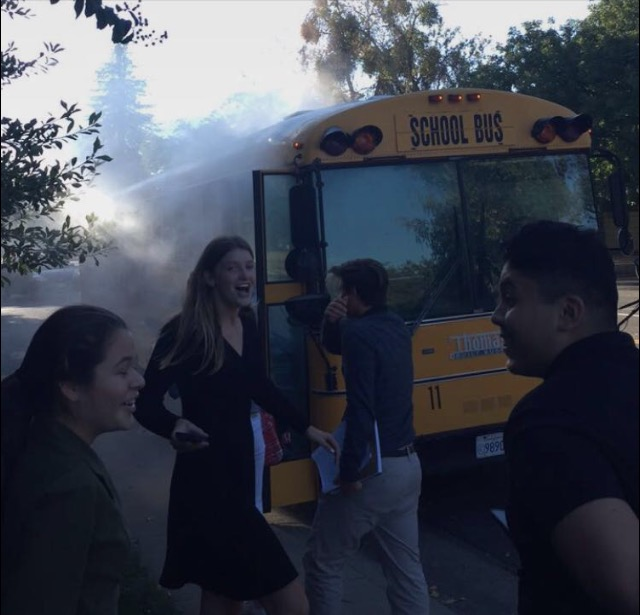 Students Evacuate Smoke-Filled Bus