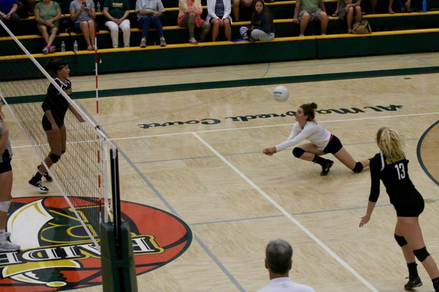 Senior Chyna Wright digs the ball during a 3-1 win over Vista del Lago, Oct. 26.
