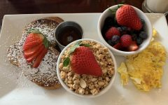 The French toast is presented beautifully, including sides of yogurt and granola and seasonal fresh fruit. Considering the generous portions, the prices are very reasonable with entrees averaging $10-12.