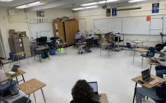 Currently sparsely populated, there will soon be more students in teacher Michael Mahoney's A-wing classroom as Cohorts A and B merge and students come on campus 4 days a week. Desks will still remain the appropriate distance of 3 feet away as recommended by new CDC guidelines.