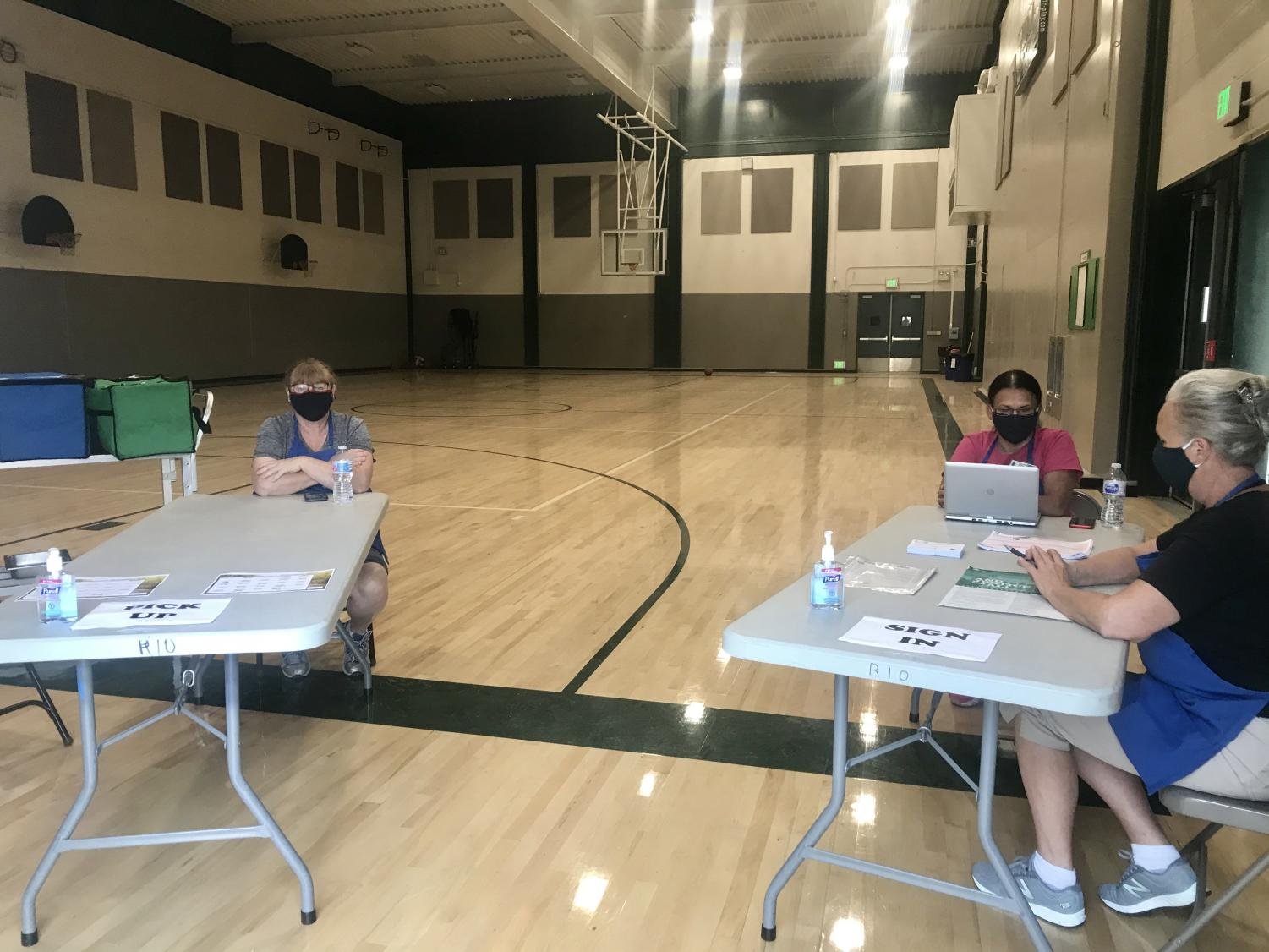 Nutrition services waits for customers in the small gymnasium. Meal services are available Monday through Friday in the mornings.