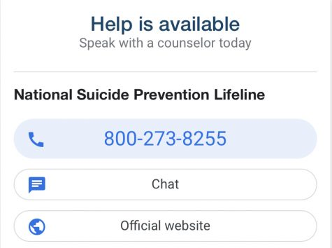 A screenshot of the National Suicide Prevention hotline, available anonymously to anyone 24 hours a day 365 days a year.