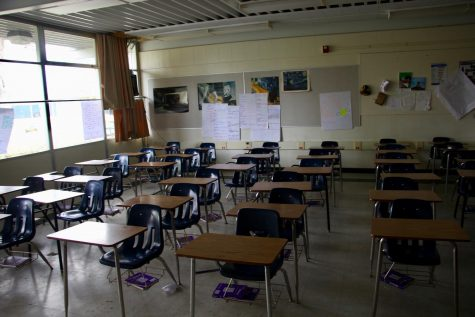 "An empty Rio Americano classroom as students transition to ""distance learning."""
