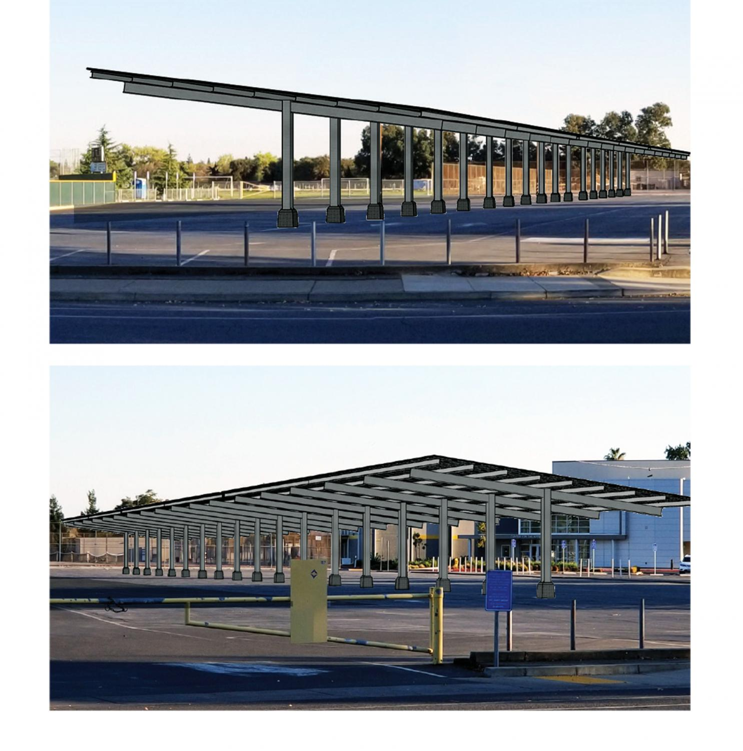 San Juan School District makes a model of the solar panel plan. The overflow parking lot will have  one row of solar panels covering  parking spots. Photo provided by San Juan Unified School District.