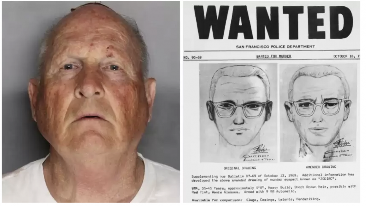 A+Sacramento+Police+mug+shot+of+Joseph+James+DeAngelo%2C+a+73-year-old+former+cop+who+police+believe+is+the+Golden+State+Killer%2C+and+a+wanted+flier+from+the+1970s.