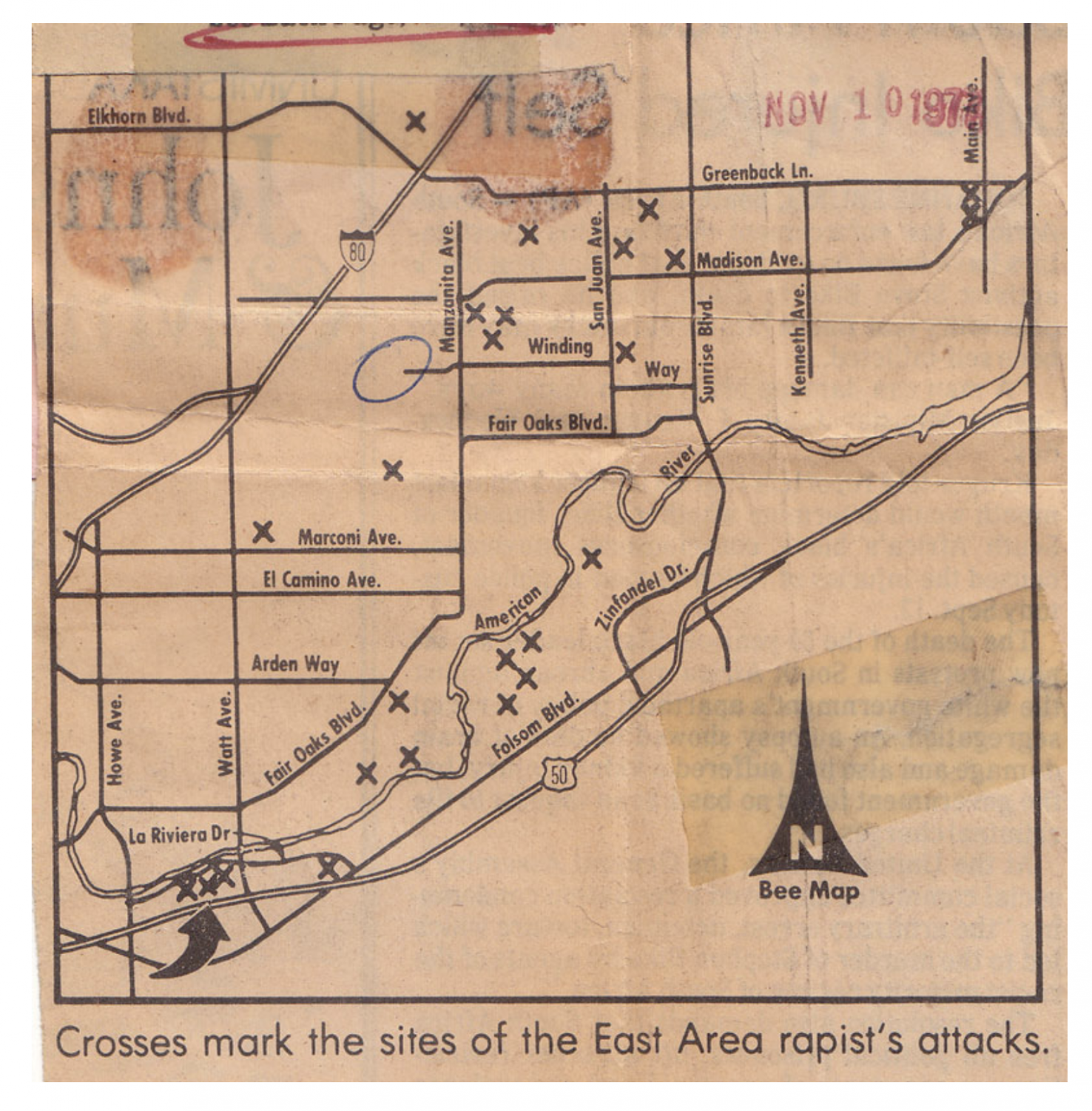 A+map+from+November+1977+Sacramento+Bee+showing+where+the+East+Area+Rapist+struck.
