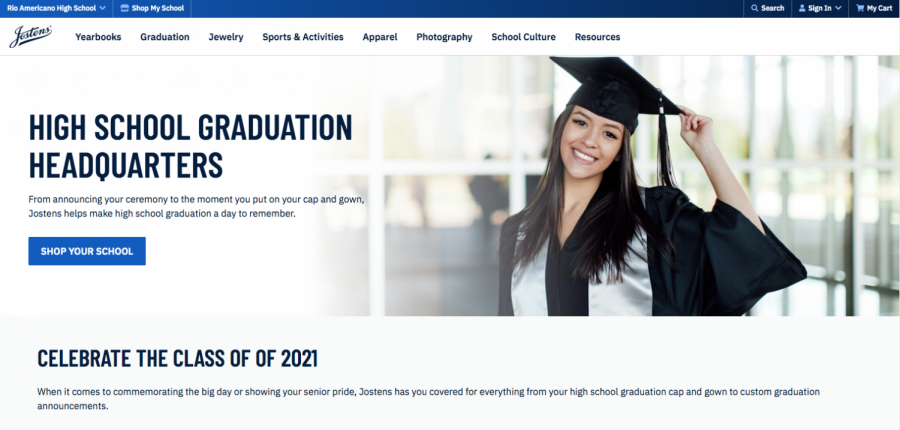 Seniors+are+able+to+purchase+caps%2C+gowns%2C+class+jewelry+graduation+announcements+and+much+more+on+the+Jostens+website.