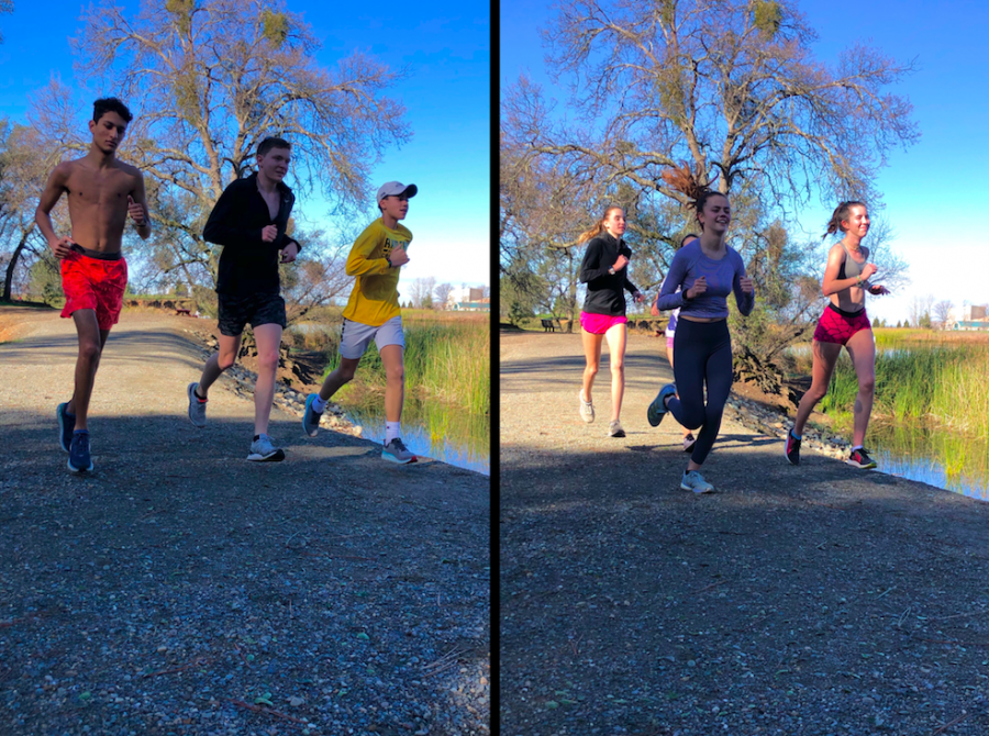 The varsity boy (left) and girls (right) cross country team do mile repeats at Willow Hills Reservoir in preparation for their first race in February.