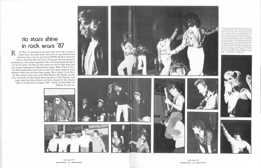A girl group performed in blackface as the Jackson 5, winning first place at the 1987 Rock Wars talent competition. Rio photos from Tesoro yearbook.