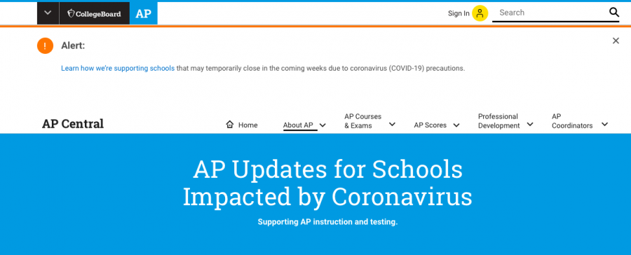 A+screenshot+of+the+college+board+website+informing+high+school+students+of+changes+within+AP+testing+this+year+related+to+COVID-19.