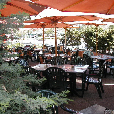 Outdoor dining area at Danielle's Creperie