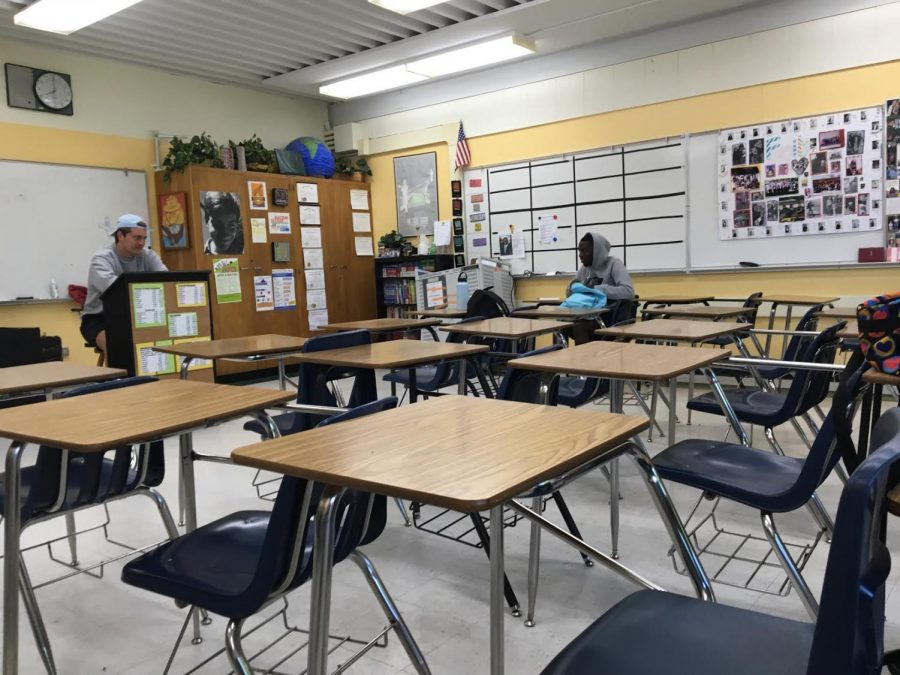A dispersed Rio Americano classroom during AP testing last May