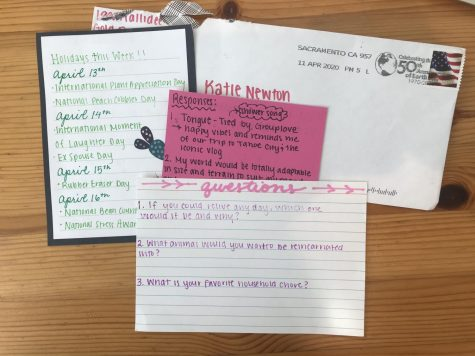 Pen Pal letters between Emma Hutchinson and Katie Newton during quarantine.